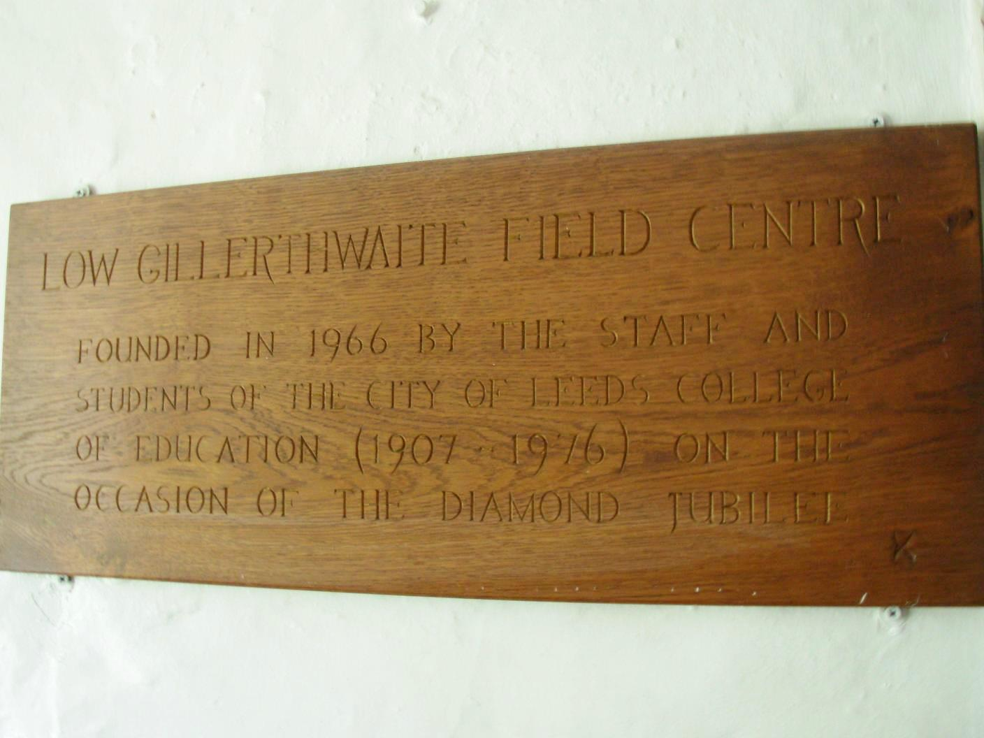oak plaque in the lounge